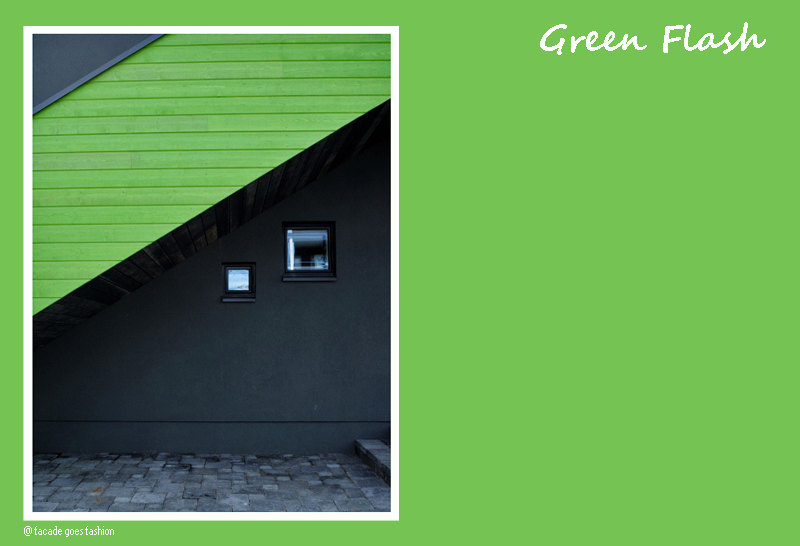 Bright green on facade Pantone 2016 Green Flash