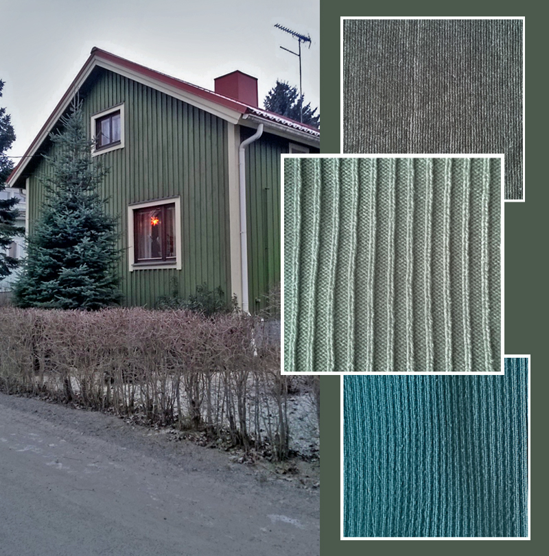 Green wooden house and green knitwear