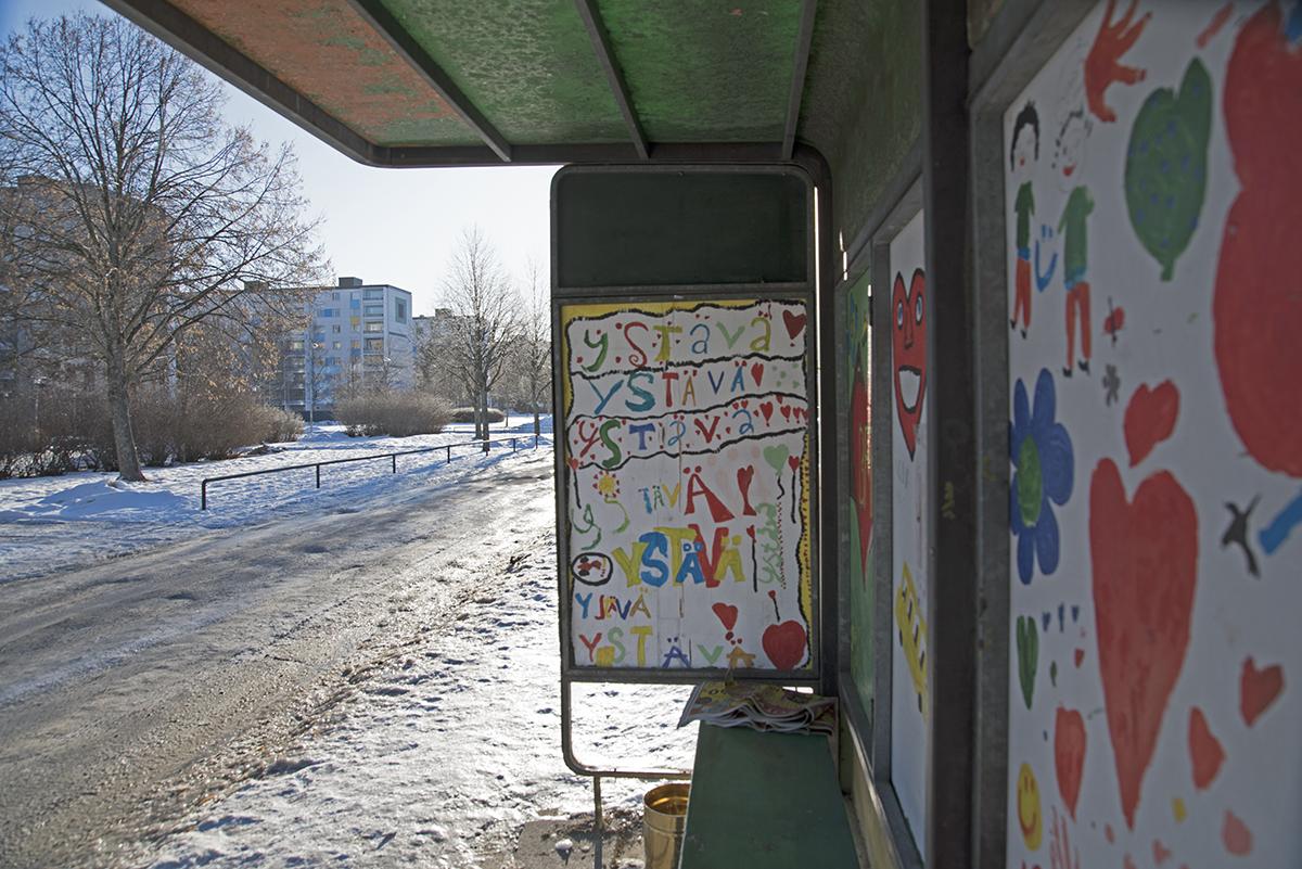 Bussipysäkki Sampolassa
